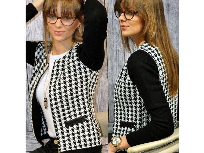 Dámský černobílý podzimní kabátek (Velikost XL)