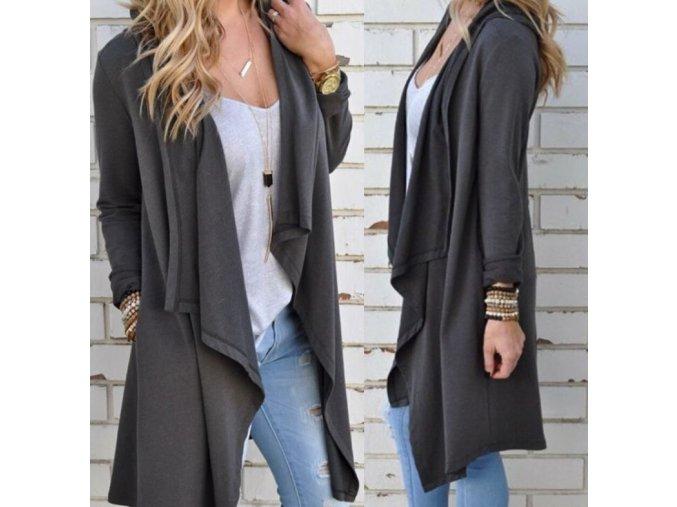 Dámský stylový šedý podzimní cardigan (Velikost XL)