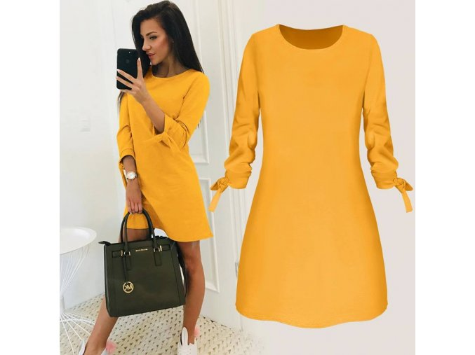 Dámské žluté letní plážové šaty až 4XL