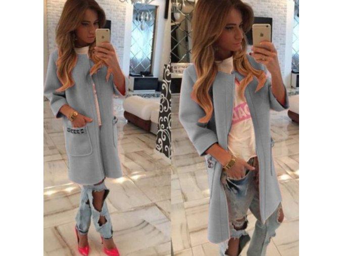 Dámský luxusní jarní kabátek se 3/4 rukávem šedý (Velikost XL)