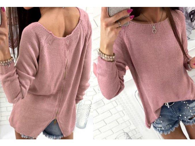 Dámský volný svetřík s originálním zapínáním na zádech růžový (Velikost XL)