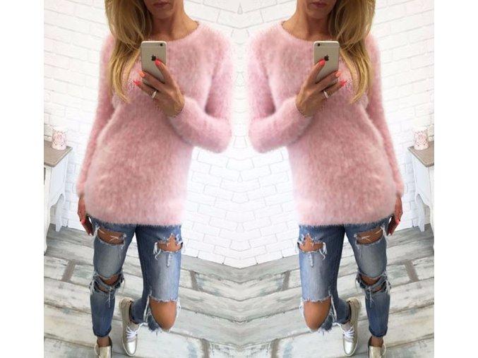 Dámský chlupatý svetřík růžový (Velikost XL)