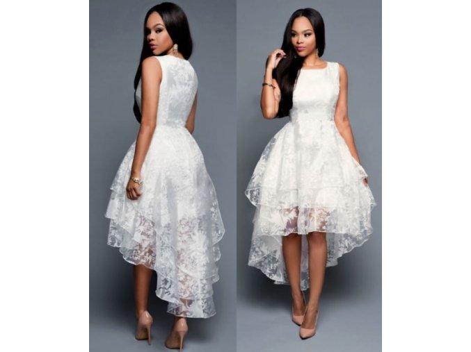 Dámské elegantní bílé krajkované vícevrstvé šaty (Velikost XL)