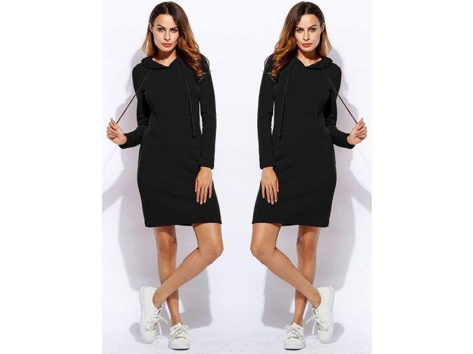 Dámské podzimní sportovní šaty s kapucí černé (Velikost XXL)