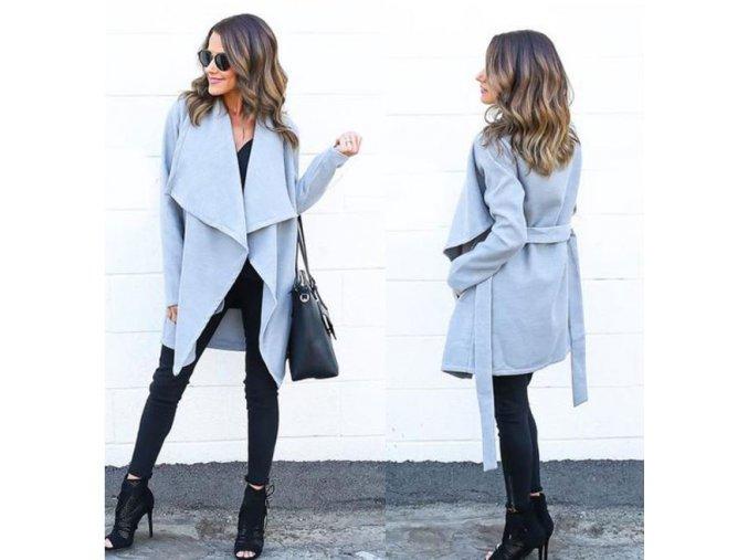 Dlouhý šedý kabátek se zavazováním v pase (Velikost XL)