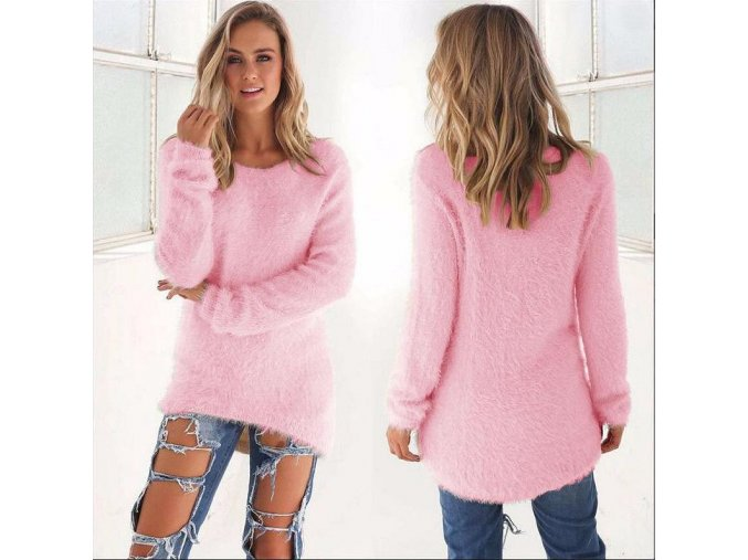 Dámský podzimní asymetrický růžový chlupatý svetřík (Velikost XL)