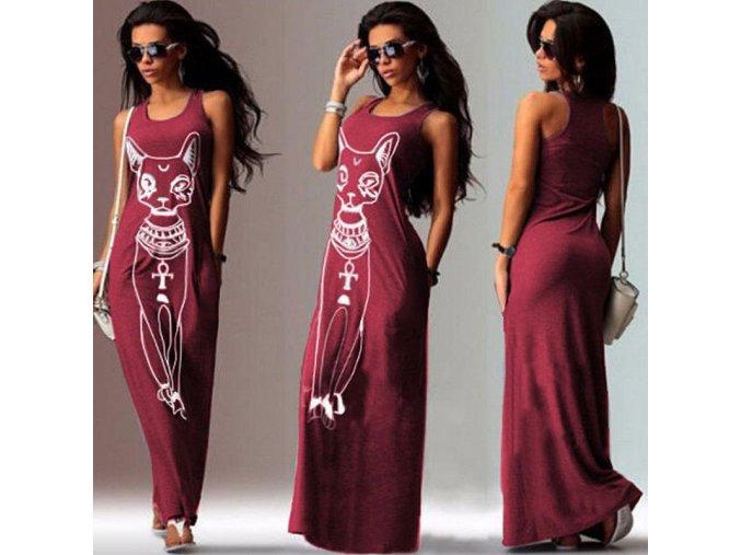Dlouhé červené stylové šaty s motivem cat (Velikost XL)