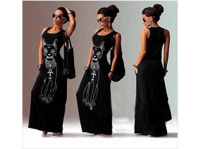 Dlouhé černé stylové šaty s motivem cat (Velikost XL)