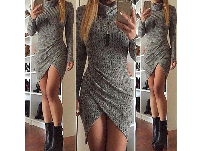 Teplé podzimní šaty s rolákem a dlouhým rukávem (Velikost XL)