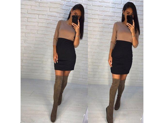 Zimní dvou barevné šaty s dlouhým rukávem (Velikost XL)
