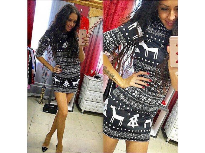Stylové dámské šaty s motivem vánoc černé AKCE (Velikost XXL)