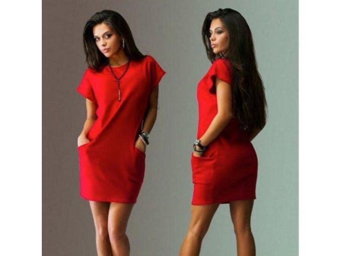 Dámské pohodlné letní šaty s krátkým rukávem červené (Velikost XXL)