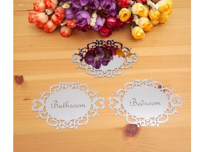 Zrcadlové nálepky štítky na dveře WC, Koupelna, Ložnice, Toaleta- zlaté, stříbrné