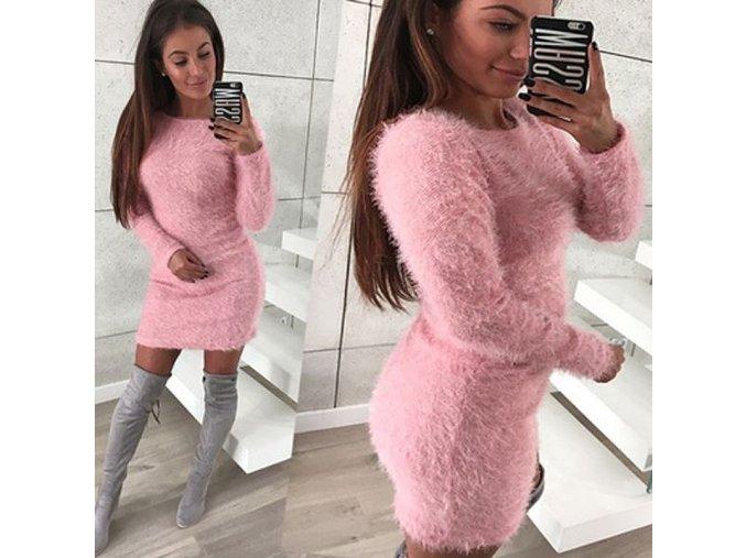 Dámské zimní huňaté mini šaty s dlouhým rukávem růžové (Velikost XL)