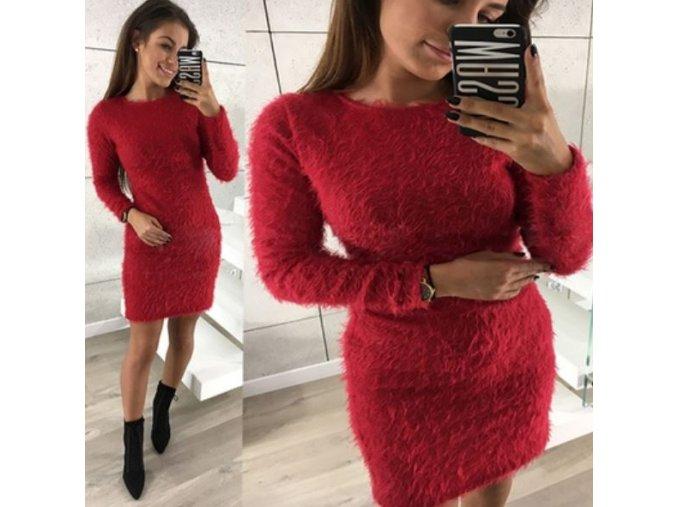Dámské zimní huňaté mini šaty s dlouhým rukávem červené (Velikost XL)
