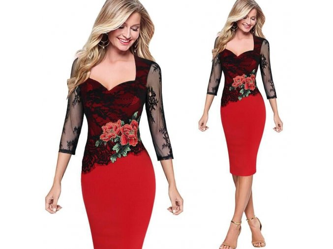 Stylové plesové červené šaty se síťovaným rukávem až 5XL (Velikost XXXL)