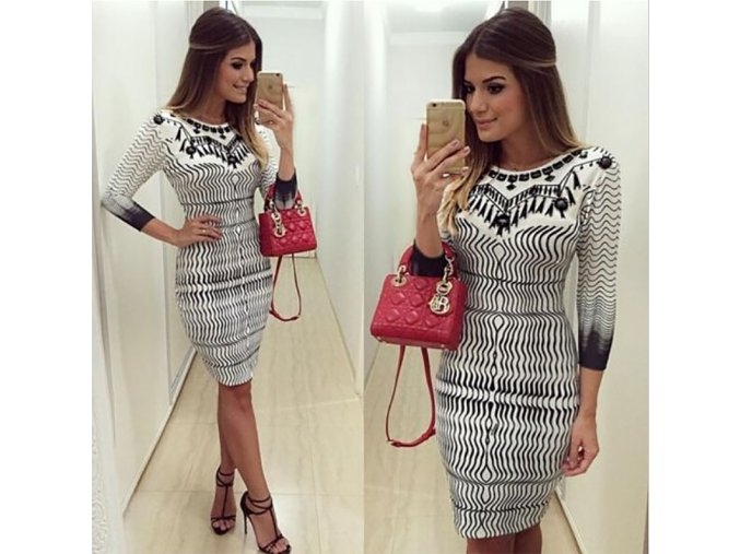 Trendy šaty s 3/4 rukávem a vzory AKCE (Velikost XL)