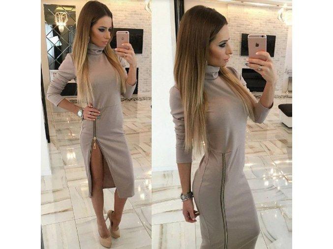 Dámské slim dlouhé šaty s rolákem a elegantním rozparkem (Velikost XXL)