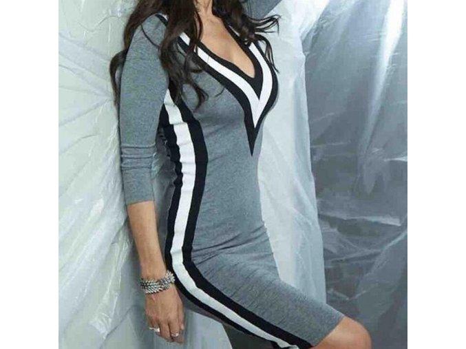 Šedé zimní dlouhé TOP fashion šaty s dlouhým rukávem (Velikost XL)
