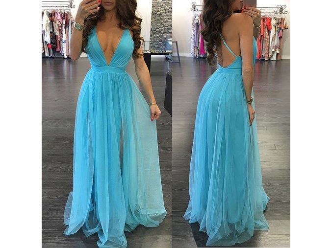 Luxusní dlouhé nebesky modré večerní šaty (Velikost XL)