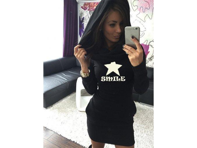 Stylové dlouhé černé teplé zimní šaty SMILE (Velikost XL)