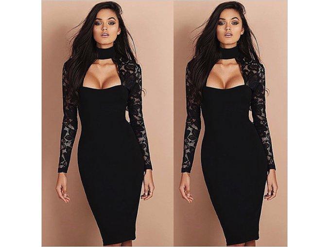 Luxusní dlouhé černé šaty se síťovaným rukávem (Velikost XL)