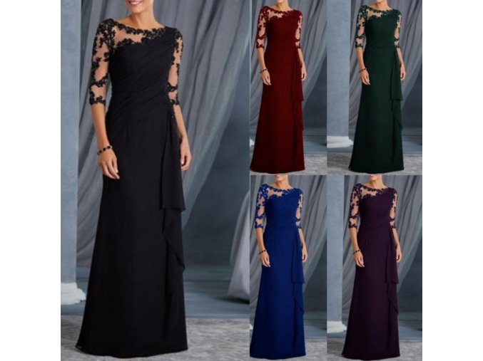 Dámské dlouhé společenské plesové večerní šaty s krajkou více barev