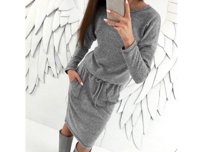 Dlouhé teplé pletené šedé šaty s kapsami (Velikost XL)