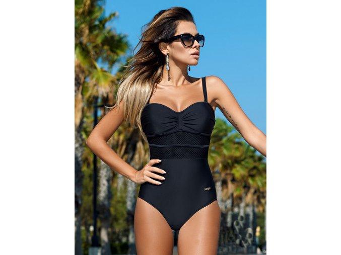 Luxusní dámské jednodílné černé TOP plavky (Velikost XL)