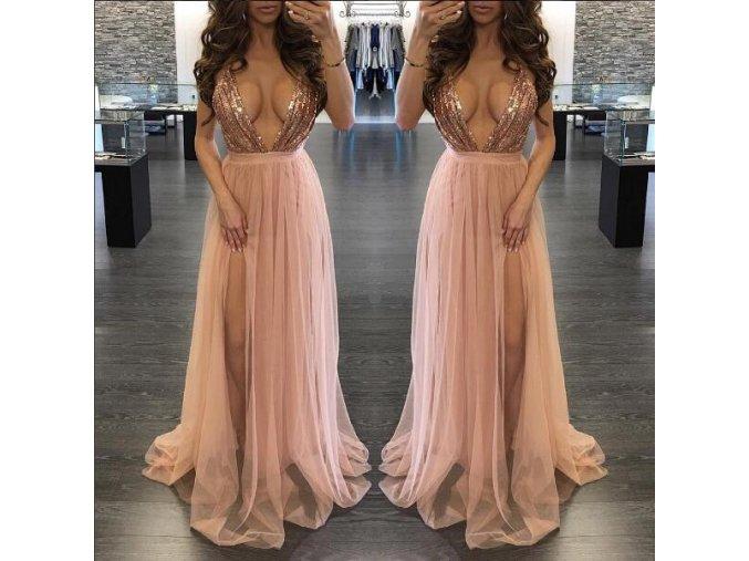 Luxusní dlouhé růžové šaty se zdobením a hlubokým dekoltem (Velikost XL)