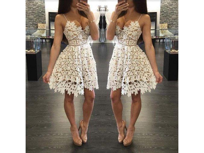 Dámské krajkované mini šaty s hlubokým výstřihem bílé (Velikost XL)