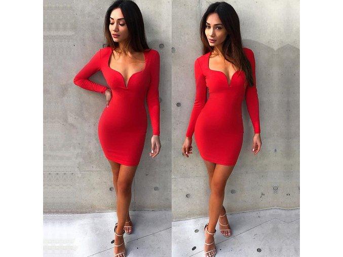Fashion červené mini šaty s dlouhým rukávem (Velikost XXL)