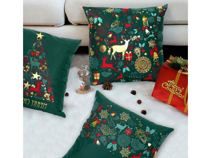 Vánoční dekorace- Vánoční povlak na polštář více druhů 45x45cm