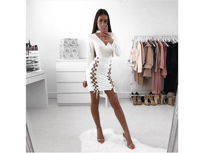 Luxusní bílé fashion šaty s unikátním šněrováním (Velikost XL)