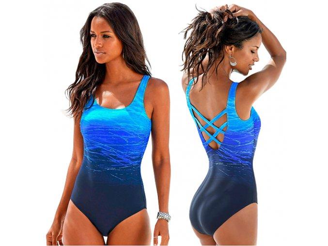 Stylové modré jednodílné plavky až 2XL NOVINKA (Velikost XXL)