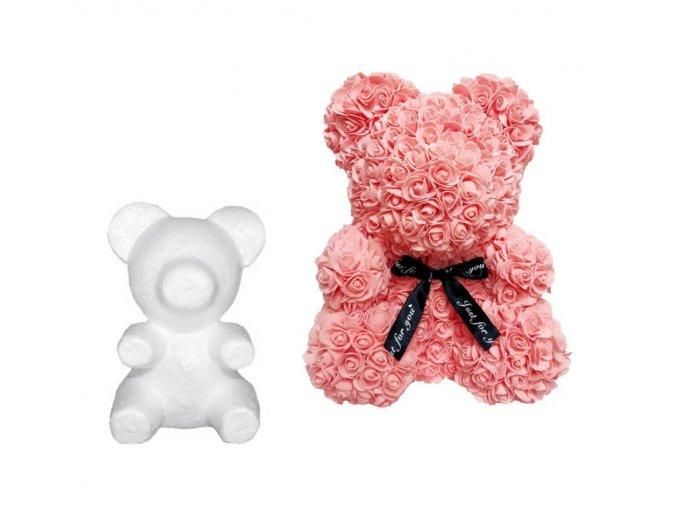 Medvídek z růží- kreativní tvoření medvěd polystyrenový 20cm- Dárky pro ženy, Valentýn