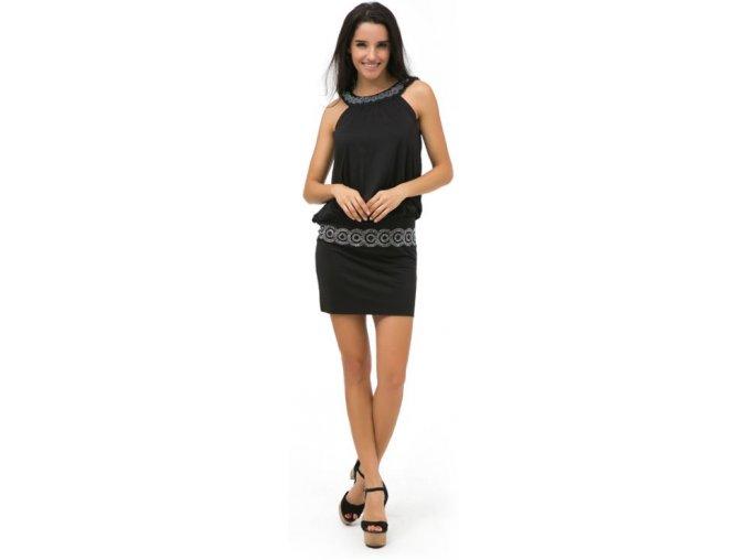 Dámské černé slim mini šaty s ozdobným dekoltem a pasem (Velikost XXXL)