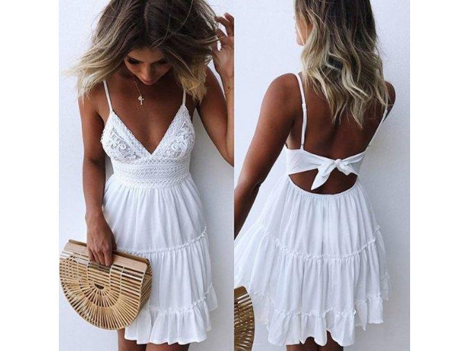 Letní bílé šaty s ramínky AKCE (Velikost XL)