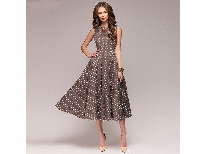Dlouhé letní šaty s puntíky NOVINKA (Velikost XL)