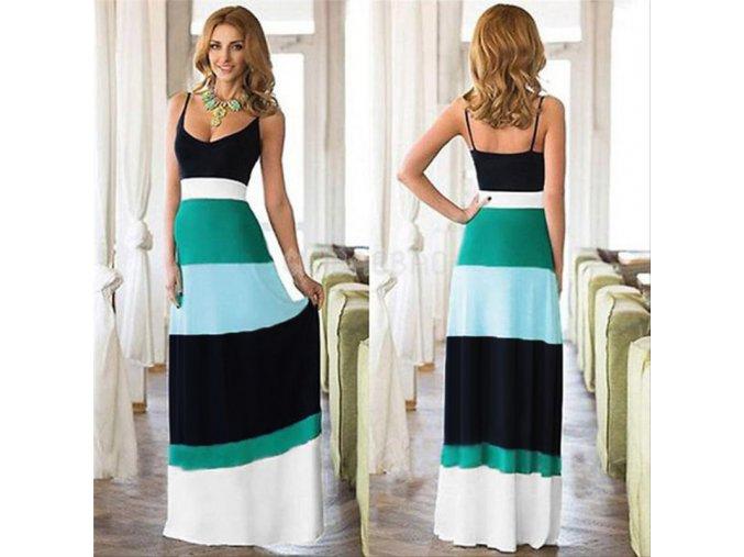 Letní dlouhé pestrobarevné šaty s ramínky NOVINKA (Velikost XL)