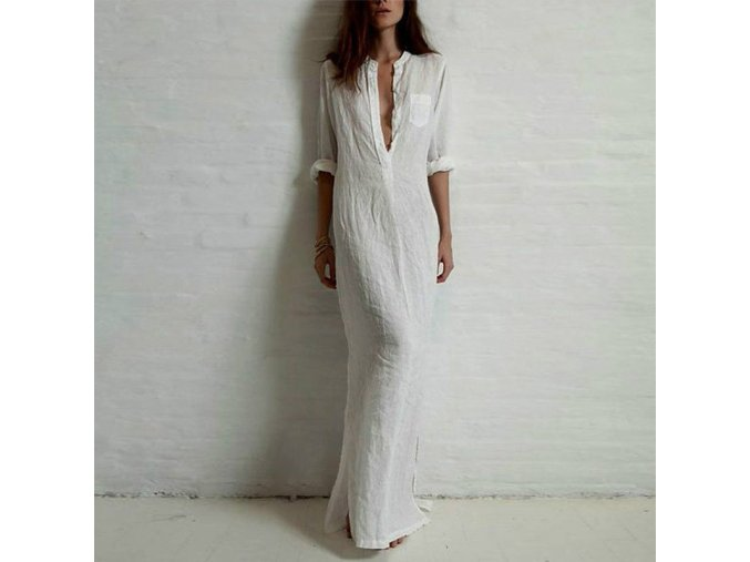 Dámské dlouhé bílé šaty AKCE (Velikost XXXL)