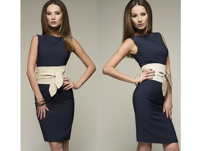 Dámské elegantní slim tmavě modré šaty (Velikost XL)