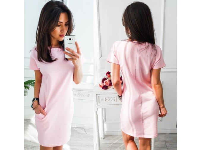 Letní pohodlné růžové šaty s kapsami (Velikost XXL)