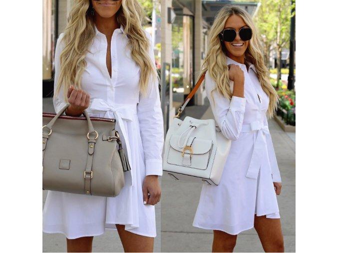 Elegantní bílé letní šaty s vázáním v pase NEW (Velikost XL)