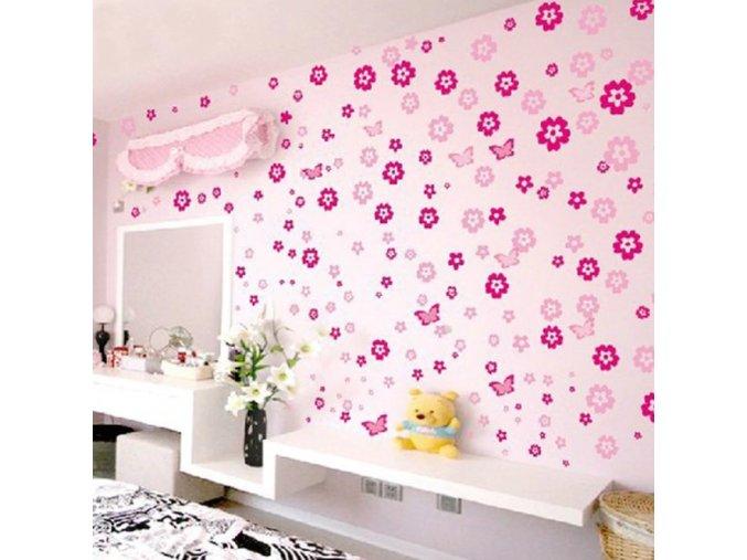 Tapety na zeď- Samolepicí květy na zeď do dětského pokoje 105ks dvě barvy