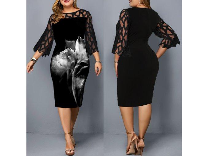 Dámské společenský elegantní šaty černé pro plnoštíhlé až 6XL