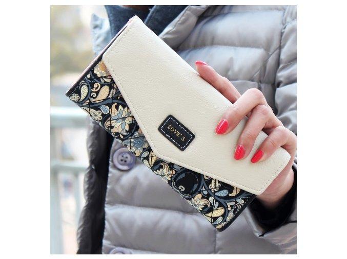 Dámská peněženka motiv květiny černá