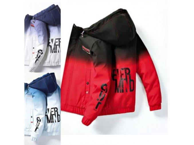 oblečení - pánská zimní bunda - zimní bundy - pánská zimní bunda s kapucí a nápisem - dárek pro muže - vánoční dárek