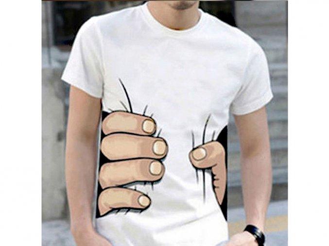 Pánské bílé tričko s 3D potiskem