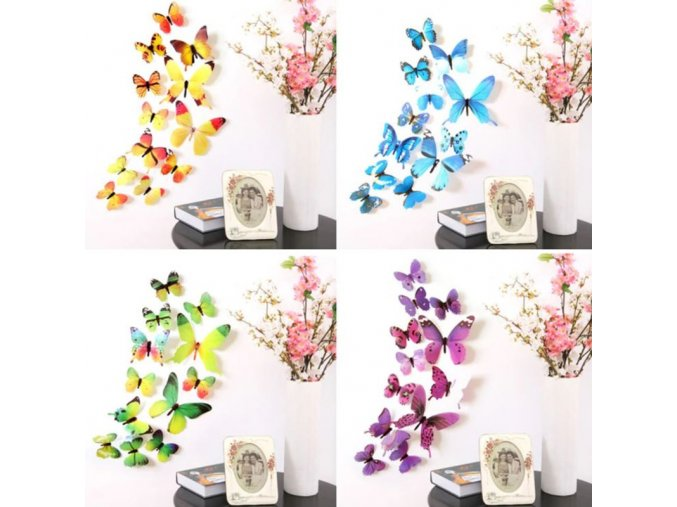 tapety - 3D samolepící motýli na zeď - samolepící tapeta - motýli - výprodej skladu